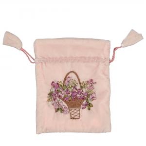 Samtbeutel mit Blumenmuster rosa