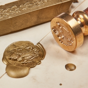 Coat of arms seal stamp & golden wax