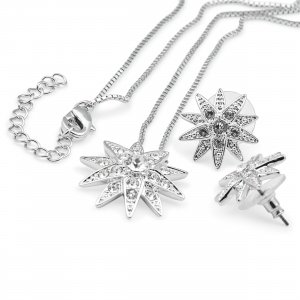 Diamond star necklace and ear-stud set