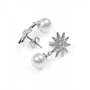 Ohrstecker Stern mit Perle 925 Silber