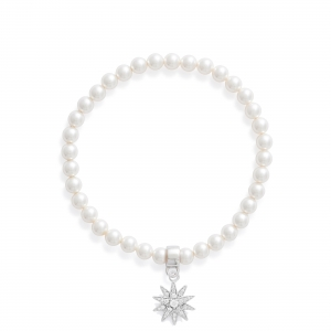 Perlenarmband mit Stern 925 Silber
