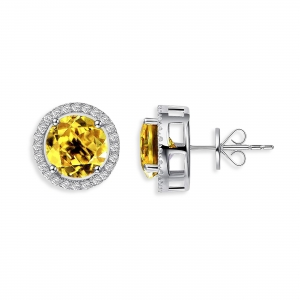 Earrings Royal Citrin, 925 silver