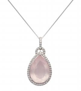 Necklace Pear Drop Rose Quartz, 925 silver