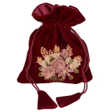 Velvet bag with floral pattern, bordeau