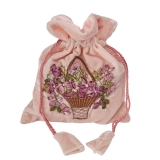 Velvet bag with floral pattern, pink